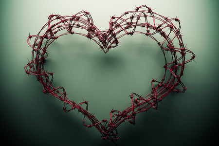 Red barbed wire heart photo