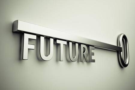 3D render van de sleutel met toekomstige tekst Stockfoto