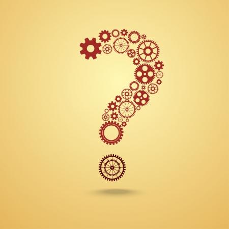 Vraagteken van gears Stock Illustratie