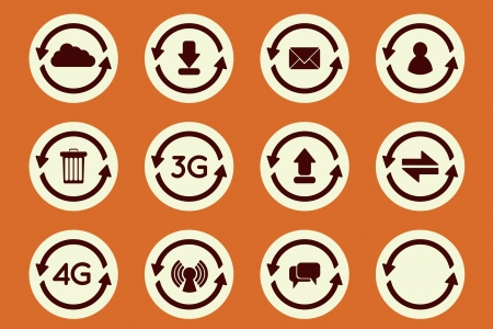 Flat update arrow icons set. Update upload, download, networkm mail and private messages Vector