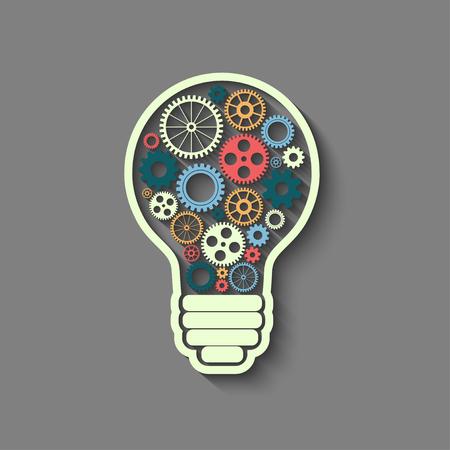 Glühbirne mit Zahnrädern und Zahnräder arbeiten zusammen, Teamwork-Konzept, Retro-Stil