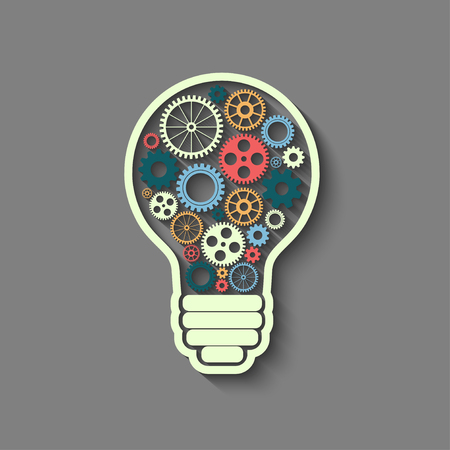bulb light: light bulb with gears and cogs working together, teamwork concept, retro style