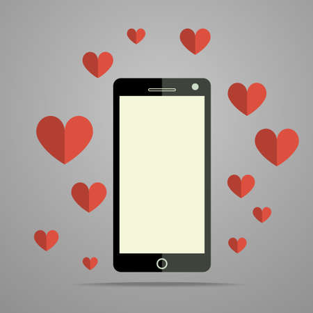 Modern mobile phone with red hearts Vector