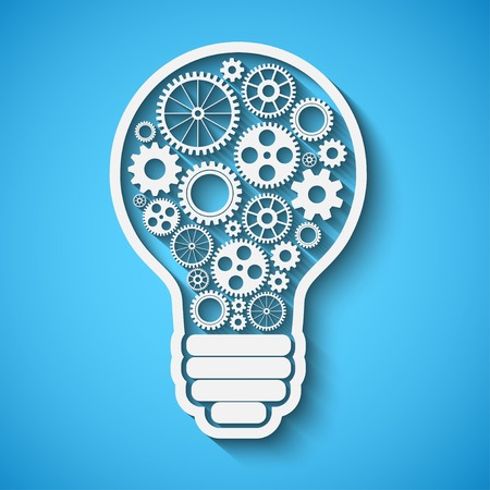 light bulb with gears and cogs working together, teamwork concept, retro style