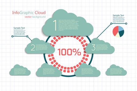 main idea: infographic vector background, main idea cloud concept, center stage Illustration