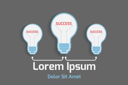 business success concept: business success concept with light bulb, eps10 vector background Illustration
