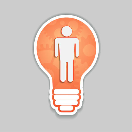 Man as idea, bulb vector concept Vector
