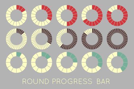 progress bar: loading status icons, round progress bar Illustration