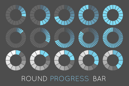 loading status icons, round progress bar Ilustração