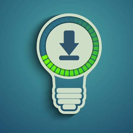 progress bar: Bulb with download arrow b progress bar. waiting for download.