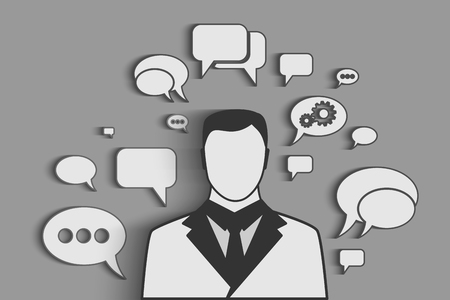 Businessman with speech bubbles, Social network chat Vector