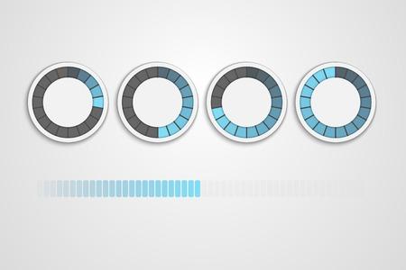 loading status icons, round progress bar Vectores