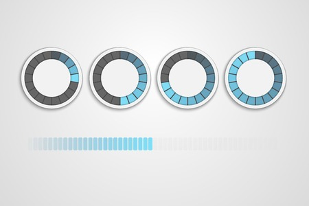 loading status icons, round progress bar Ilustracja