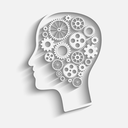 brain work: Human head  with set of gears as a symbol work of brain