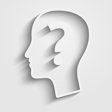Human head with question mark. Vector
