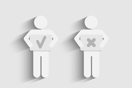 check box: Two persons with positive and negative symbols.  Vector eps10