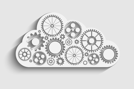 centralized: cloud with gears Illustration