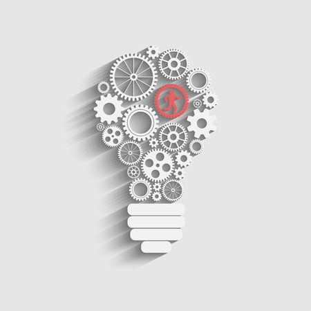 gears: light bulb with gears and cogs working together Illustration