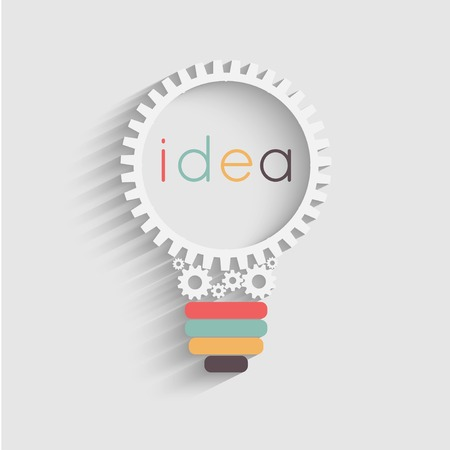 light bulb with gears and cogs working together, idea concept Stock Illustratie