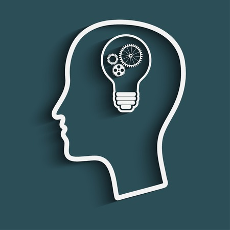 concentration gear: Silhouette of head with a light bulb, and gears. the concept of making big idea Illustration