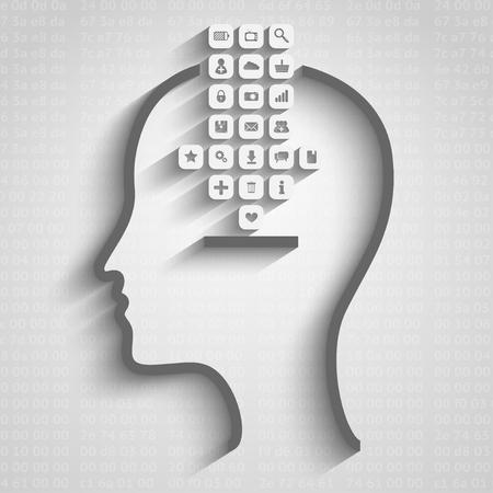 think big: thinking process design vector illustration, data download concept Illustration