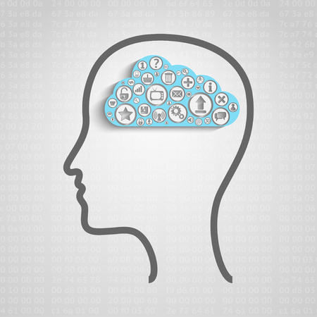 centralized: Head with creative cloud inside, memory concept