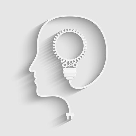 人間の頭は、新しいアイデアを作成します。独創的なアイデア。ベクトル。