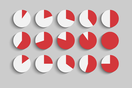 Set of Different round diagrams with shadows Vector