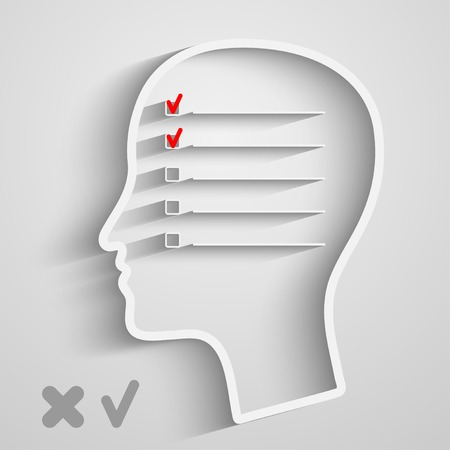 check box: A creative concept of human memory with head and checkbox Illustration