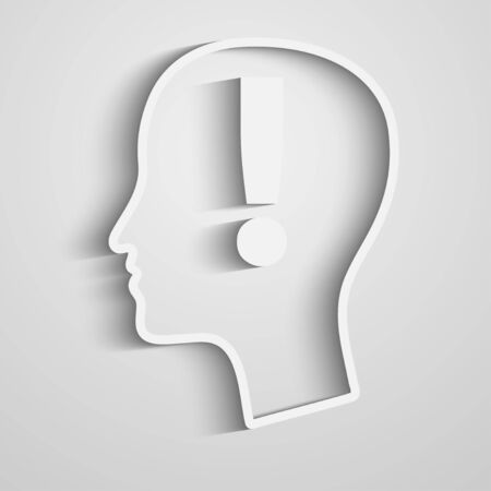 Human head with exclamation mark. Vector