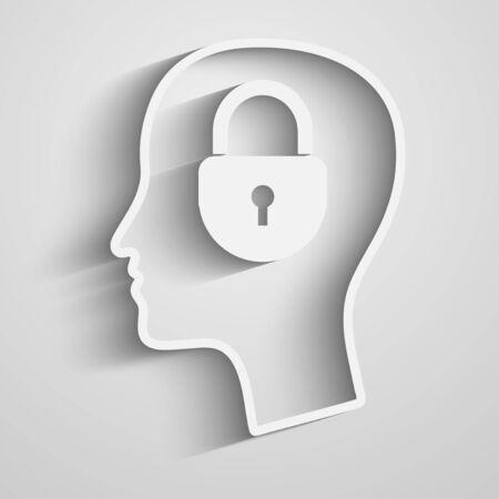 bussines: Head with padlock Illustration