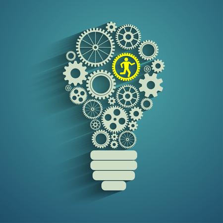 light bulb with gears and cogs working together Vectores