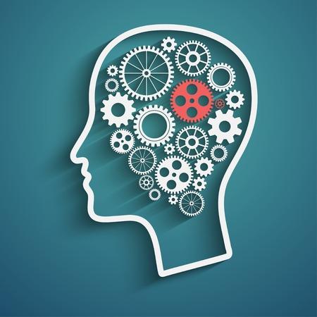 Menselijk hoofd met set tandwielen als symbool werk van hersenen Stock Illustratie