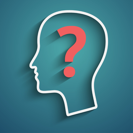 two visions: Human head with question mark. Illustration