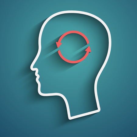 helplessness: Vector illustration of head with arrows Illustration