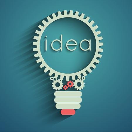 Glühbirne mit Getriebe und Zahnräder arbeiten zusammen, Idee, Konzept Illustration
