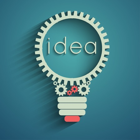 engineering concept: light bulb with gears and cogs working together, idea concept Illustration