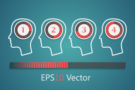Heads with round progress bars, brainstorm concept Vector