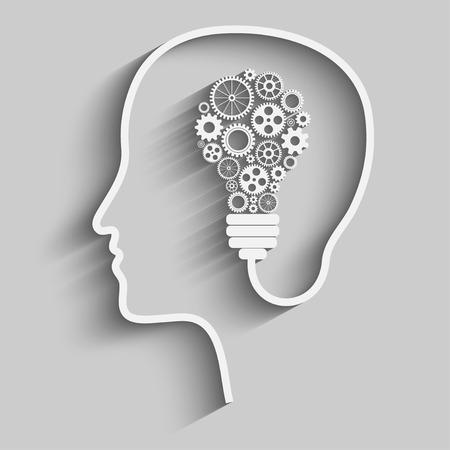 moudrost: Lidská hlava vytváří novou myšlenku. Creative Idea. vektor. Ilustrace