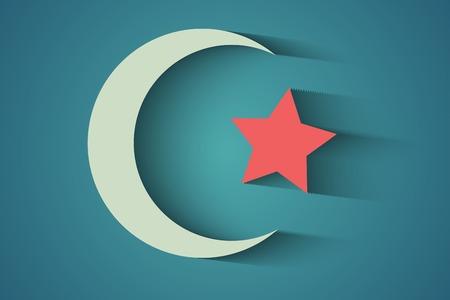 holiday symbol: Un simbolo vacanza luna crescente Vettoriali