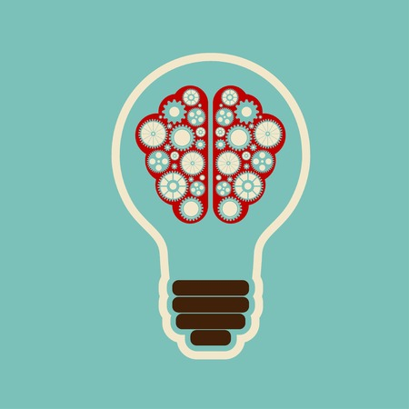 doodle art clipart: Creative bulb with brain, brain with clouds with gears working together