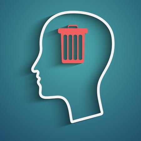 emotional stress: Human head with basket inside