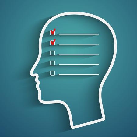 人間の記憶の頭とチェック ボックスを持つ創造的な概念  イラスト・ベクター素材