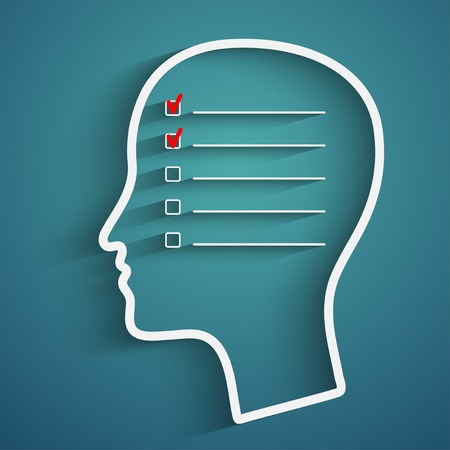 A creative concept of human memory with head and checkbox Vettoriali