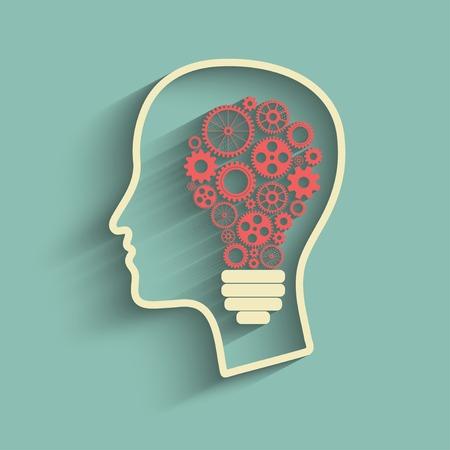 concentration gear: Human head creating a new idea. Creative Idea. vector.