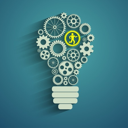 light bulb with gears and cogs working together Vettoriali