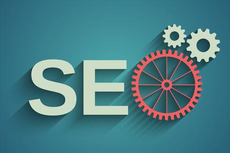 seo optimization: Seo tag with gear wheel