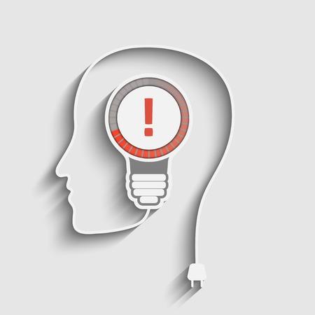 cerebro blanco y negro: cabeza con signo de exclamación en el bulbo