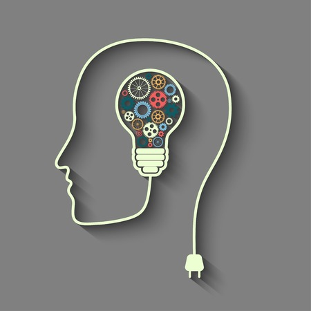 Human head creating a new idea. Vectores
