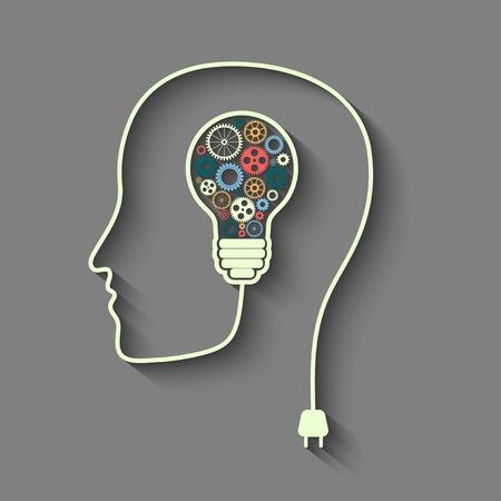 mente: Cabeza humana creando una nueva idea.